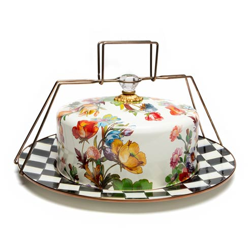 MacKenzie-Childs  Flower Market  Cake Carrier - White $180.00