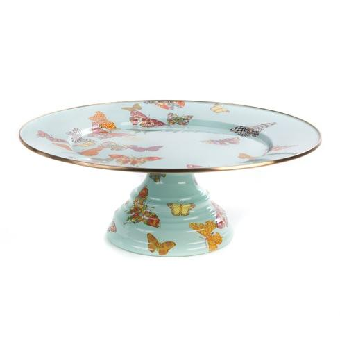 $105.00 Butterfly Garden Pedestal Platter - Sky