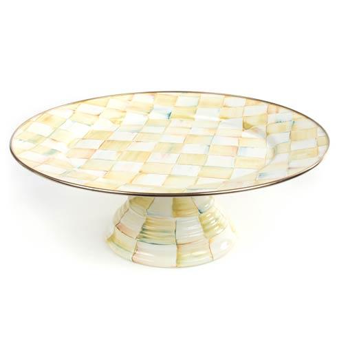 MacKenzie-Childs  Parchment Check Enamel Pedestal Platter - Large $110.00