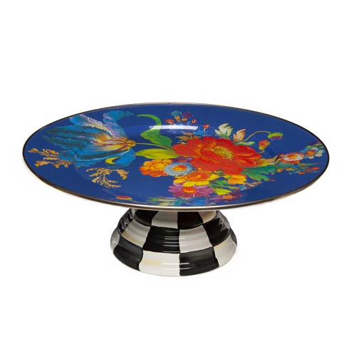 $135.00 Flower Market Pedestal Platter - Lapis