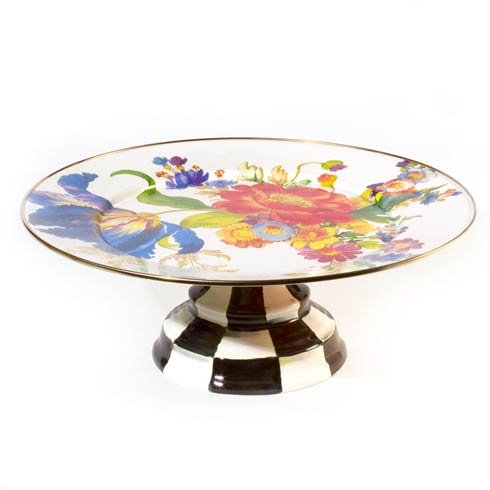 MacKenzie-Childs  Flower Market  Pedestal Platter - White $120.00