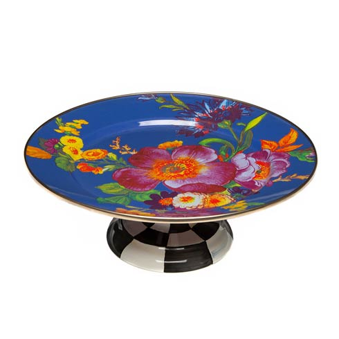 $105.00 Flower Market Small Pedestal Platter - Lapis