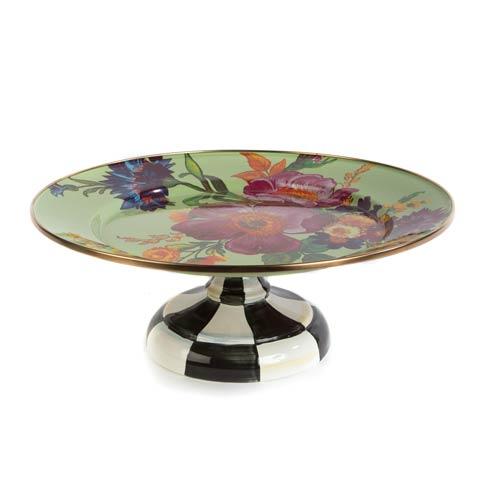MacKenzie-Childs Flower Market Tabletop Small Pedestal Platter - Green $105.00