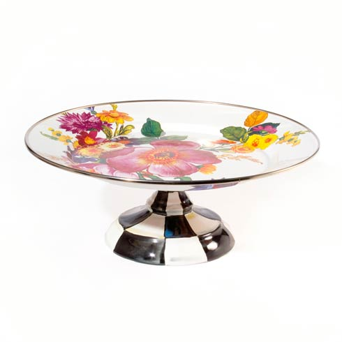 MacKenzie-Childs  Flower Market  Small Pedestal Platter - White $78.00