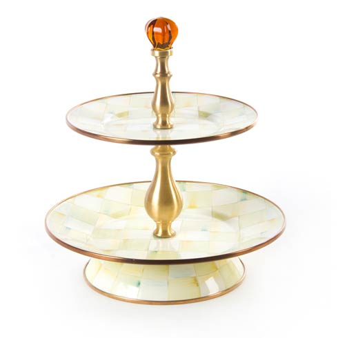 MacKenzie-Childs  Parchment Check Enamel Two Tier Sweet Stand $175.00
