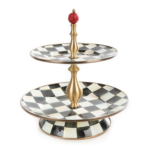 MacKenzie-Childs  Courtly Check Enamel Two Tier Sweet Stand $175.00