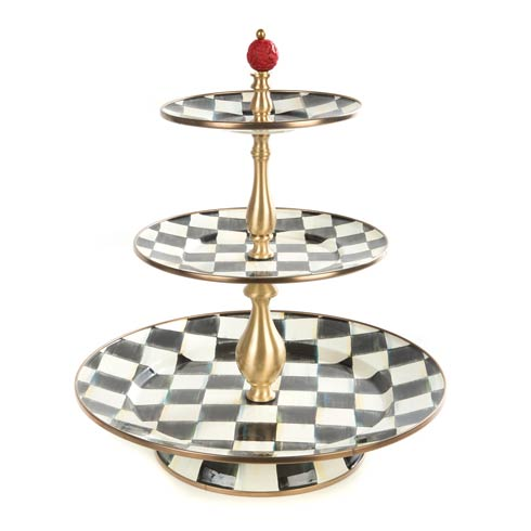 MacKenzie-Childs Courtly Check Tabletop Enamel Three Tier Sweet Stand $225.00