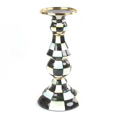 MacKenzie-Childs  Courtly Check Enamel Pillar Candlestick - Large $110.00