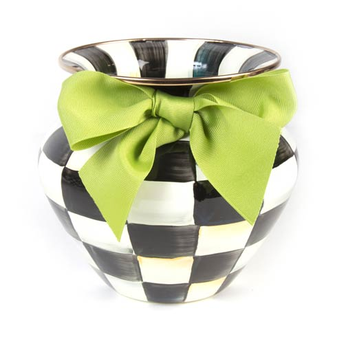 MacKenzie-Childs Courtly Check Decor Enamel Vase - Green Bow $78.00