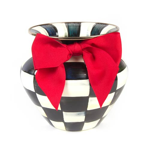 MacKenzie-Childs Courtly Check Decor Enamel Large Vase - Red Bow $100.00