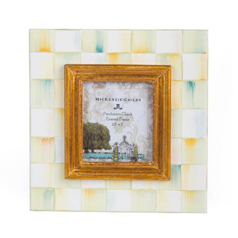 $52.00 Parchment Check Enamel Frame - 2.5 In.  X 3 In.