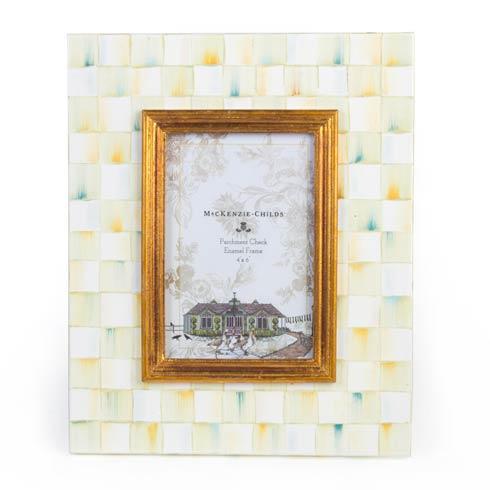 MacKenzie-Childs  Decor Parchment Check Enamel Frame - 4 In.  X 6 In. $82.00