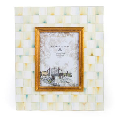 MacKenzie-Childs  Decor Parchment Check Enamel Frame - 5 In.  X 7 In. $100.00