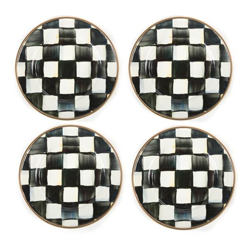 MacKenzie-Childs Courtly Check Tabletop Enamel Canape Plates - Set Of 4 $98.00