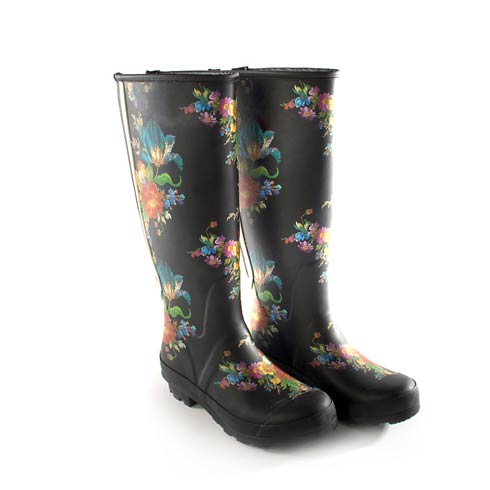 $195.00 Flower Market Rain Boots - Tall - Size 7
