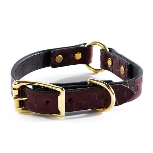$88.00 Embossed Leather Collar - Chestnut - Small