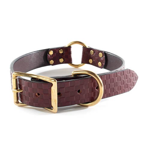 $118.00 Embossed Leather Collar - Chestnut - Large
