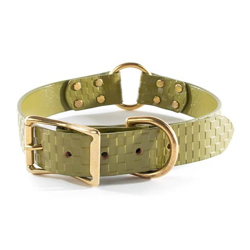 $118.00 Embossed Leather Collar - Green - Large