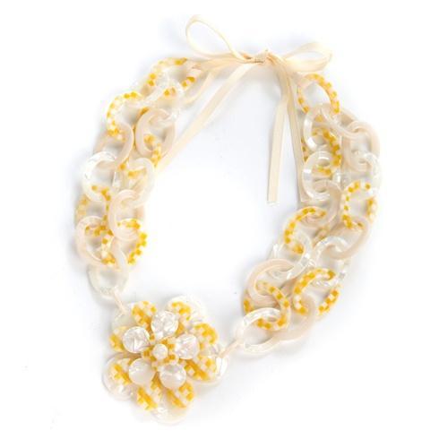 $275.00 Parchment Check Blossom Bib Necklace