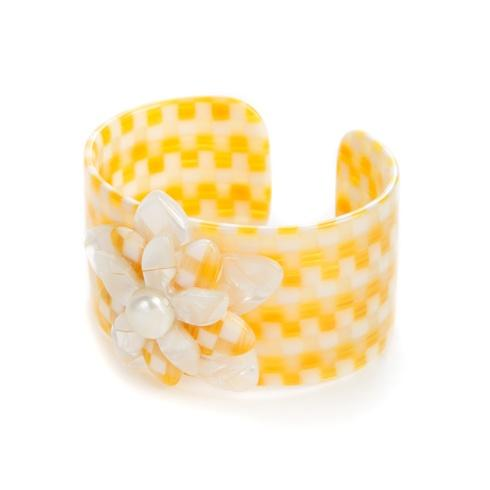 $98.00 Parchment Check Blossom Cuff - Medium