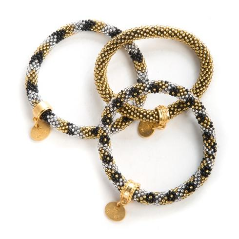 $98.00 Gold & Silver Little Beaded Bracelets - Set of 3