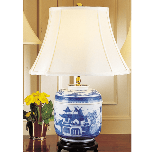 $735.00 Blue Canton Temple Jar Lamp