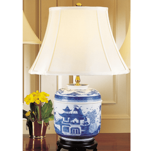 $650.00 Blue Canton Temple Jar Lamp