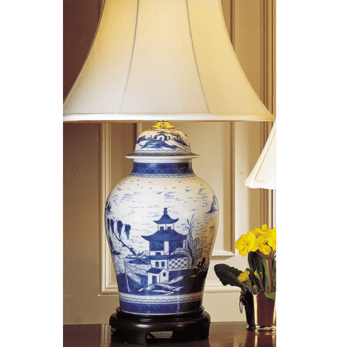 $1,550.00 Blue Canton Ginger Jar Lamp