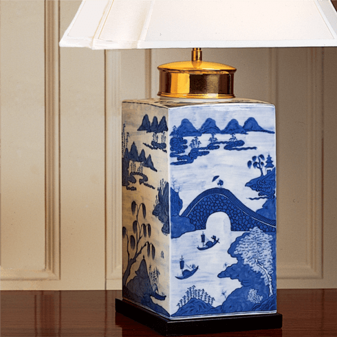 $1,645.00 Blue Canton Tea Jar Lamp Lg.