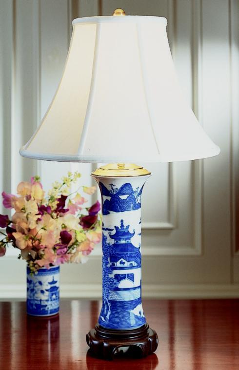 $465.00 Blue Canton Trumpet Lamp
