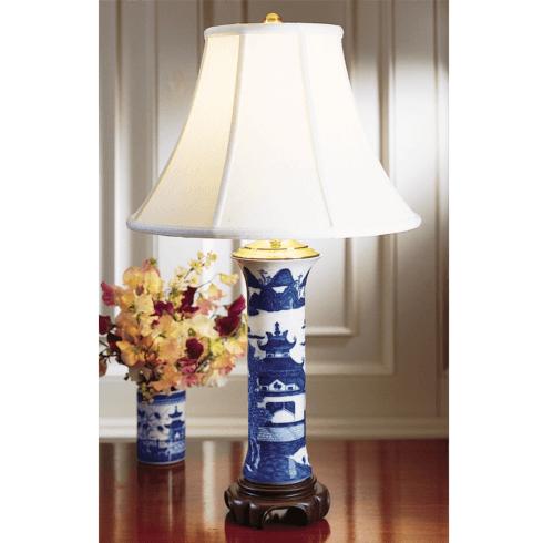 $400.00 Blue Canton Trumpet Lamp