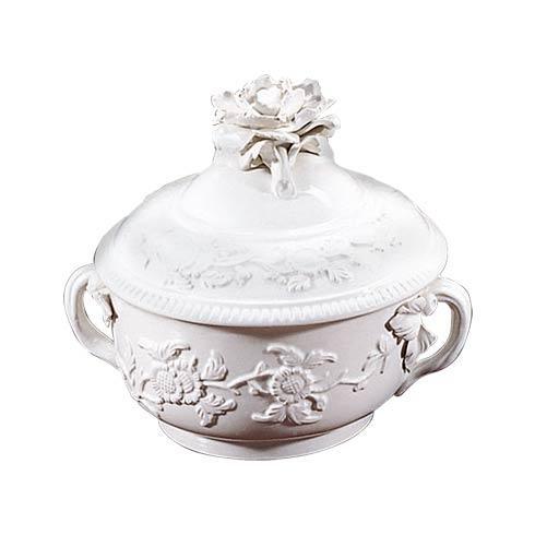 $195.00 Creamware Lobed Box W/Rose Finial