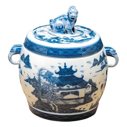 $390.00 Blue Canton Fu Dog Jar, Small