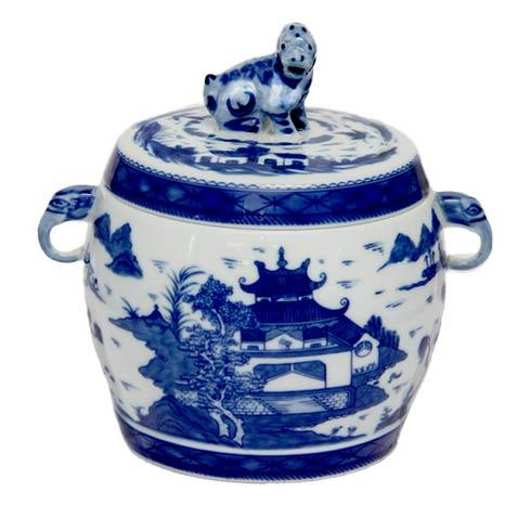 $375.00 Blue Canton Fu Dog Vessel