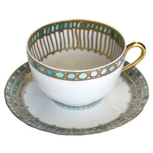 Robert Haviland & C. Parlon  Syracuse - Turquoise Tea Cup & Saucer $260.00