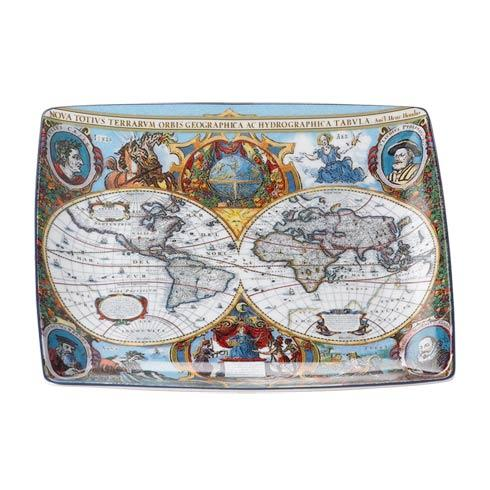 World Map Hondius Square Tray, Large