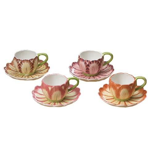 Mottahedeh  Tulips Cup & Saucer Set Of 4 $55.00