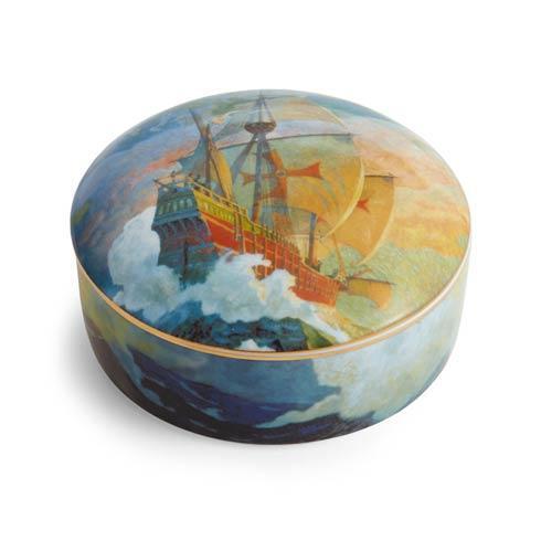 Columbus Caravel Ship Round Box