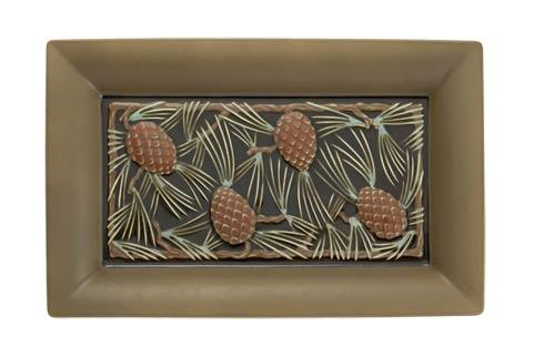 $575.00 Pinecone Rectangluar Platter Salmon, Verdigris  & Brown