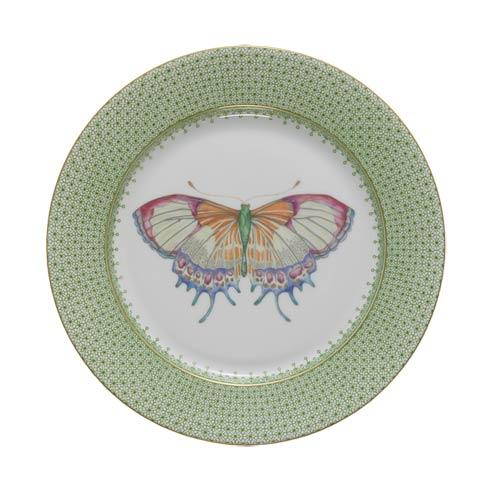 $70.00 Apple Green Dessert Plate W/ Butterfly