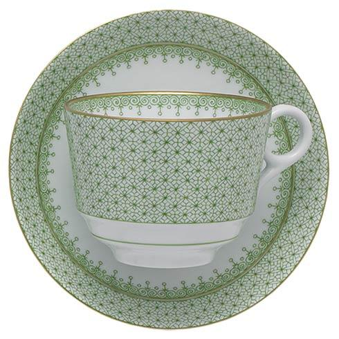 $90.00 Apple Green Lace Tea Cup & Saucer