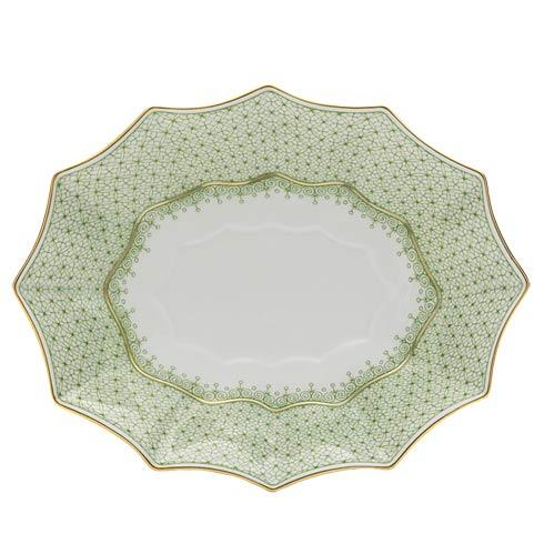 $185.00 Apple Green Lace Fluted Tray, Lg.