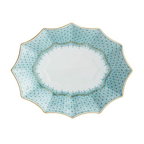 Mottahedeh Lace Green Medium  Fluted Tray $125.00