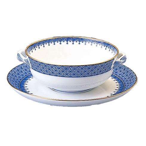 $140.00 Blue Lace Cream Soup & Saucer