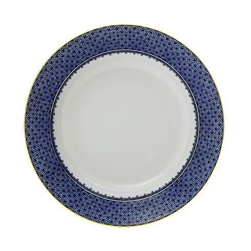 Mottahedeh Lace Blue Rim Soup Plate $90.00