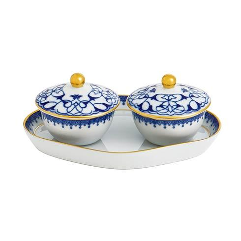 $225.00 Lace Heirluminare Two Votives W/Tray