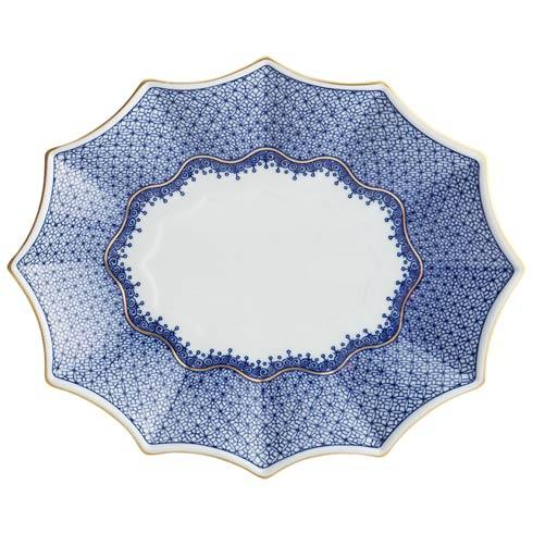 $185.00 Blue Lace Fluted Tray, Large
