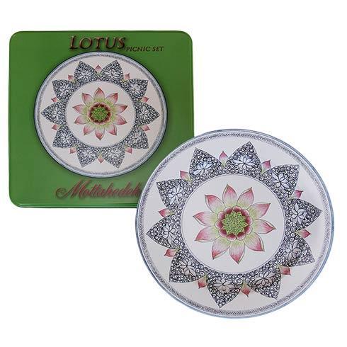 Lotus Blossum Picnic Set Of 4-Tin
