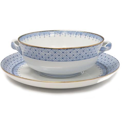 $125.00 Cornflower Blue Lace Cream Soup