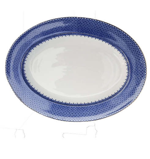 Mottahedeh  Lace Blue Lace Oval Platter $270.00